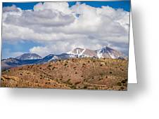 Canyon Badlands And Colorado Rockies Lanadscape Greeting Card