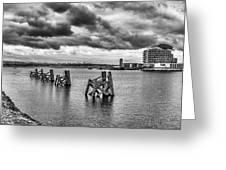 Cardiff Bay Panorama Mono Greeting Card