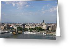 Chain Bridge On Danube River Budapest Cityscape Greeting Card
