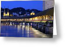 Chapel Bridge Or Kapellbrucke, Lucerne, Switzerland Greeting Card