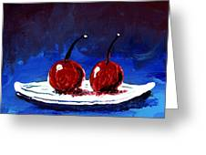 2 Cherries On A White Plate Greeting Card