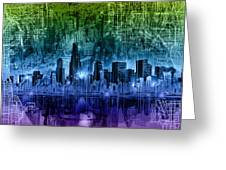 Chicago Skyline Abstract Greeting Card