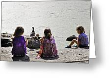 Children At The Pond 5 Greeting Card