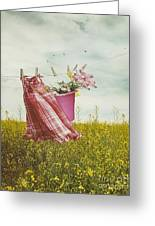 Child's Dress And Toys Hanging On Line With Farmhouse In Backgro Greeting Card