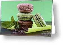 Chocolate And Mint Flavor Macaroons On Dark Wood Table Greeting Card
