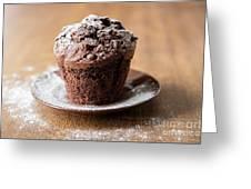 Chocolate Muffin With Powdered Sugar Greeting Card