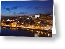 City Of Porto In Portugal By Night Greeting Card