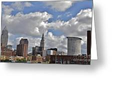 Cleveland Skyline From The Flats River District Greeting Card