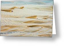 Close-up Of Beautiful Sunlit Ripple Surface Of Sand In Desert  Greeting Card
