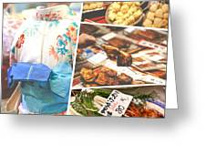 Collage Of Japan Food Images Greeting Card