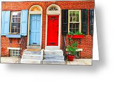 Colonial Doors Greeting Card by Andrew Dinh