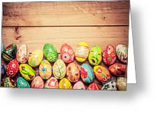 Colorful Hand Painted Easter Eggs On Wood Greeting Card
