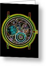 Coloured X-ray Of A 17-jewel Wrist-watch Greeting Card