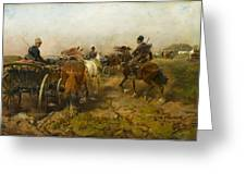 Cossacks Returning Home On Horseback Greeting Card