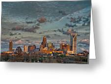 Cotton Candy Sky Over Charlotte North Carolina Downtown Skyline Greeting Card