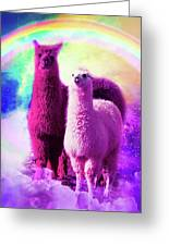 Crazy Funny Rainbow Llama In Space Greeting Card