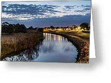 Dawn Over The Town River Greeting Card
