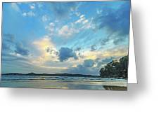Dawn Seascape With Cloudy Sky Greeting Card