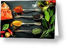 Delicious  Portion Of  Fresh Salmon Fillet  With Aromatic Herbs, Greeting Card