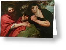 Democritus And Heraclitus Greeting Card