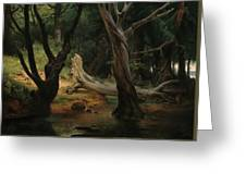Departure For The Hunt In The Pontine Marshes Greeting Card