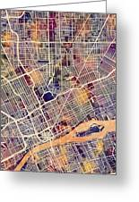 Detroit Michigan City Map Greeting Card