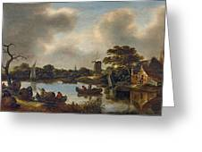 Dutch Landscape With Fishers Greeting Card