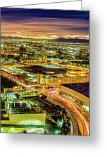 Early Morning Sunrise Over Valley Of Fire And Las Vegas Greeting Card