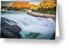 Falls And The Washington Water Power Building Along The Spokane  Greeting Card