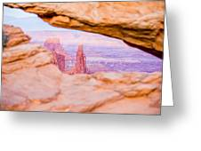 famous Mesa Arch in Canyonlands National Park Utah  USA Greeting Card