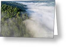 Fantastic Dreamy Sunrise On Foggy Mountains Greeting Card