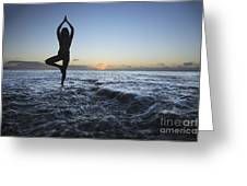 Female Doing Yoga At Sunset Greeting Card