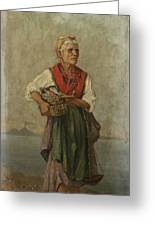 Fish Seller With The Vesuvio In The Background Greeting Card