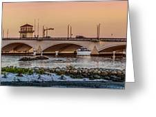 Flagler Bridge In Lights Panorama Greeting Card