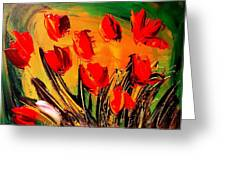 Flowers Modern Abstract Fine Art Canvas Greeting Card