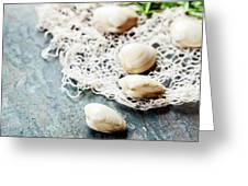 Food Background With Seafood And Wine Greeting Card
