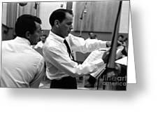 Frank Sinatra And Dean Martin At Capitol Records Studios 1958. Greeting Card