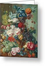 Fruit And Flowers In A Terracotta Vase Greeting Card