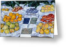 Fruit Displayed On A Stand Greeting Card