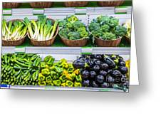 Fruits And Vegetables On A Supermarket Shelf Greeting Card by Deyan Georgiev