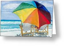 Beach Umbrella By Marilyn Nolan-johnson Greeting Card