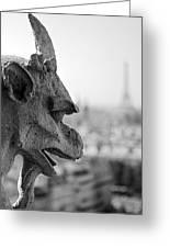 Gargoyle Guarding The Notre Dame Basilica In Paris Greeting Card
