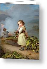 Girl On Her Way To Cooking Potatoes In The Fire Greeting Card