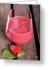 Glass With Strawberry Cocktail On Wooden Plank Greeting Card