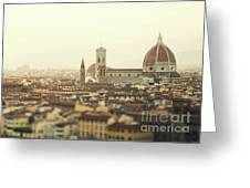 Golden Sunset Of Florence, Italy. Greeting Card