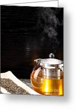 Gunpowder Green Tea In Glass Teapot Greeting Card