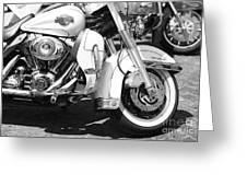 White Harley Davidson Bw Greeting Card by Stefano Senise