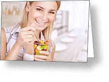 Healthy Eating Woman Greeting Card