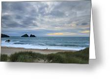 Holywell Bay Sunset Greeting Card