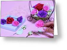 How To Make Preservrd Flower And Clay Flower Arrangement, Colorf Greeting Card